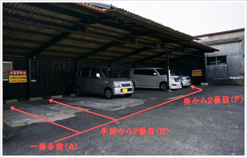 駐車場:「入口一番手前・入口から2番目・奥から2番目」 3台分